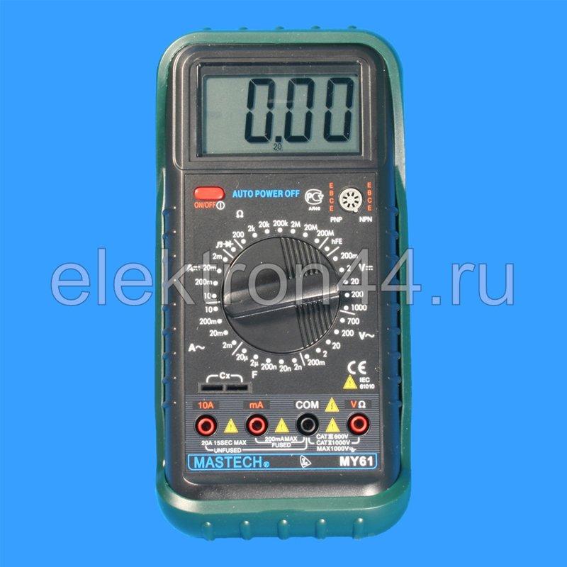 Цифровой мультиметр Mastech MY61 измеряет величины силы постоянного и переменного тока, постоянного и переменного...